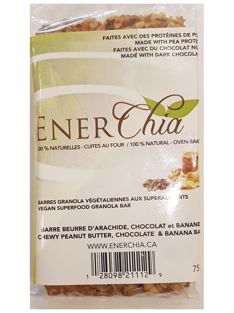Enerchia Peanut Butter Banana Chocolate Vegan Granola Bar - 75g