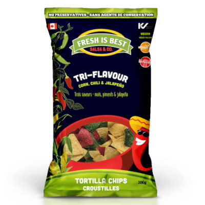 Fresh Is Best Tri-Flavour Tortilla Chips (Corn, Chili, Jalapeno) - 300g